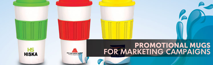 Promotional mugs for marketing event