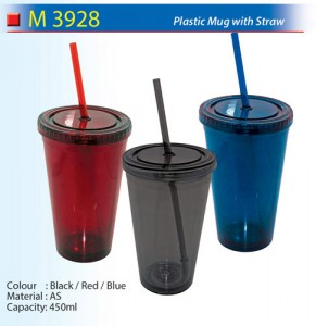 Plastic Mug with Straw (M3928)